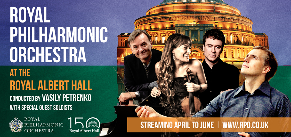 An image of the Royal Albert Hall with Vasily Petrenko, Jess Gillam, Nicola Benedetti and Paul Lewis overlaid