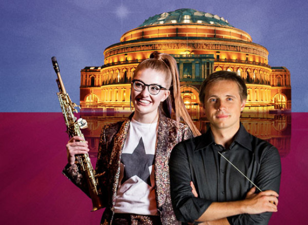 An image of Jess Gillam and Vasily Petrenko at the Royal Albert Hall