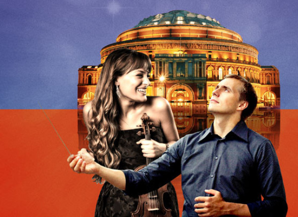 An image of Nicola Benedetti and Vasily Petrenko at the Royal Albert Hall